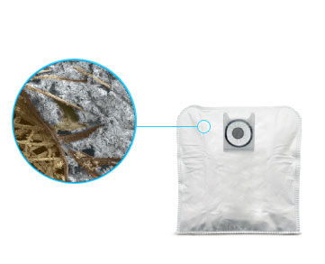 Dirt inside a vacuum bag