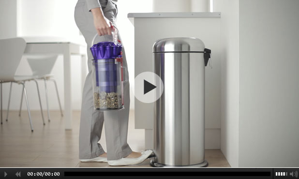 Push button bin emptying